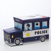 Foldable Fabric Toy Box - Police Car (Navy)