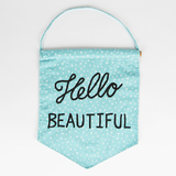 Hello Beautiful Pastel Message Flag - Blue
