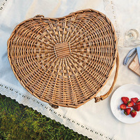 Heart Picnic Basket - Cream