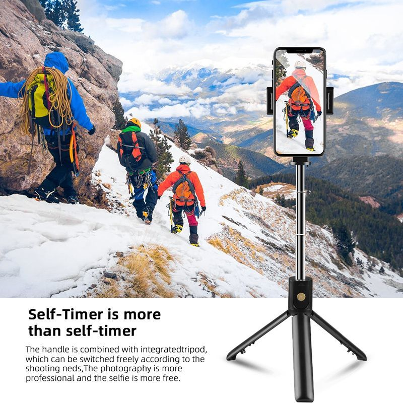 Foldable Bluetooth Selfie Stick With Remote Control - White image