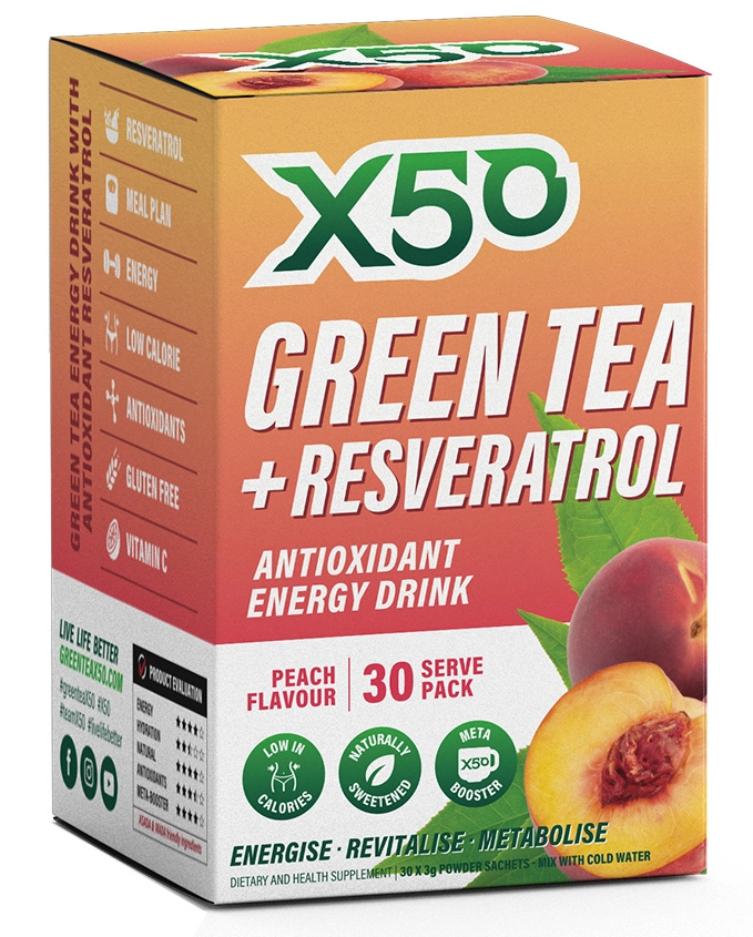 Green Tea X50 + Resveratrol - Peach (30 Sachets) image