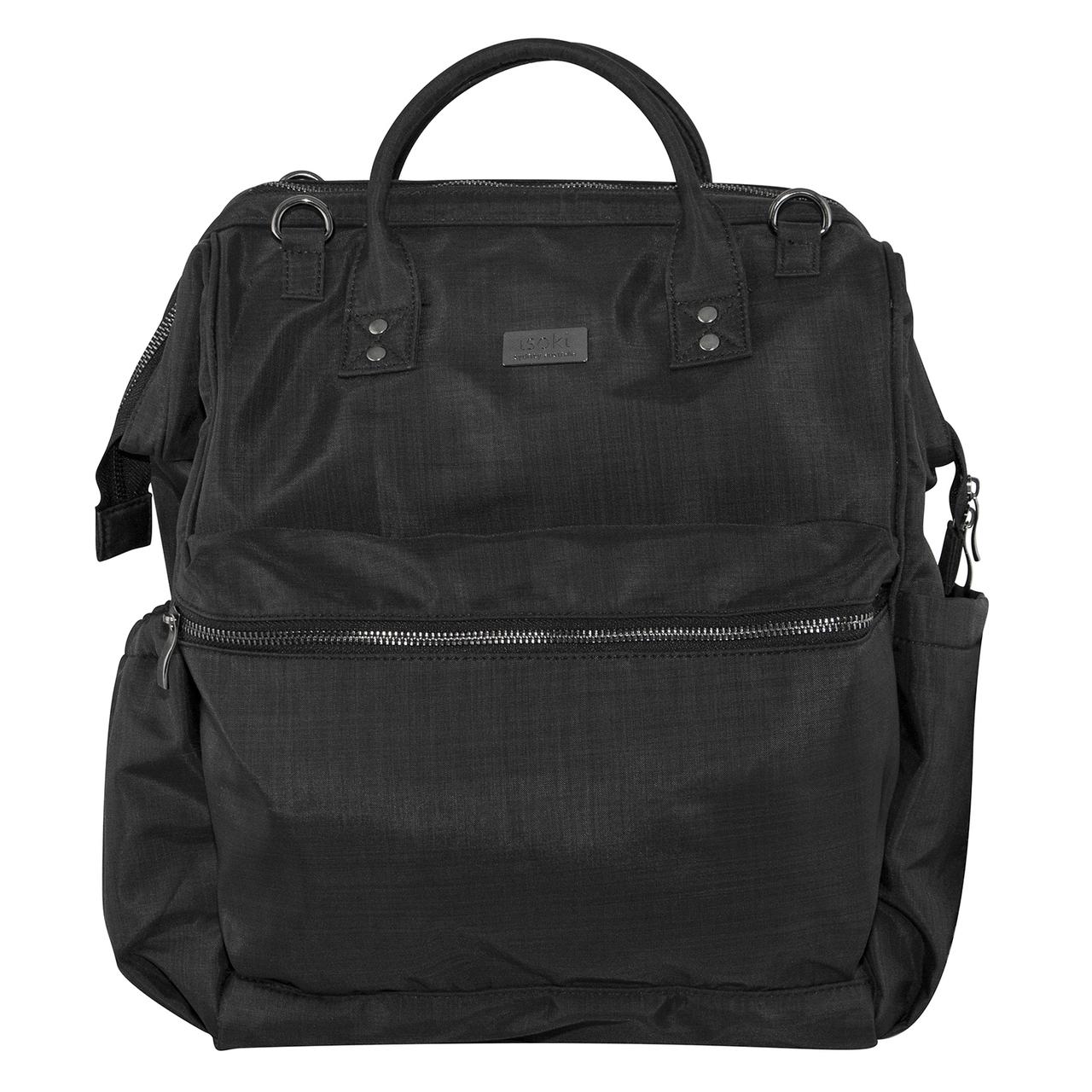 Isoki: Nappy Bag Byron XL Backpack - Black Nylon image