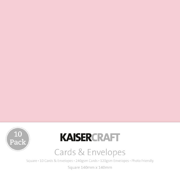 Kaisercraft: Square Card and Envelope 10 Pack - Pink