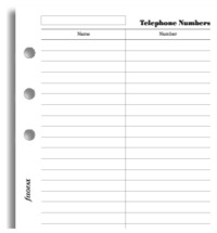 Filofax - Personal Name, Telephone Number (20 Sheets) image