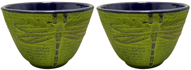 Teaology: Green Dragonfly Cast Iron Tea Cups - Set of 2 (120ml)