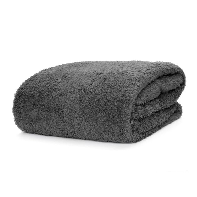Snug-Rug Sherpa Throw Blanket (Slate Grey)
