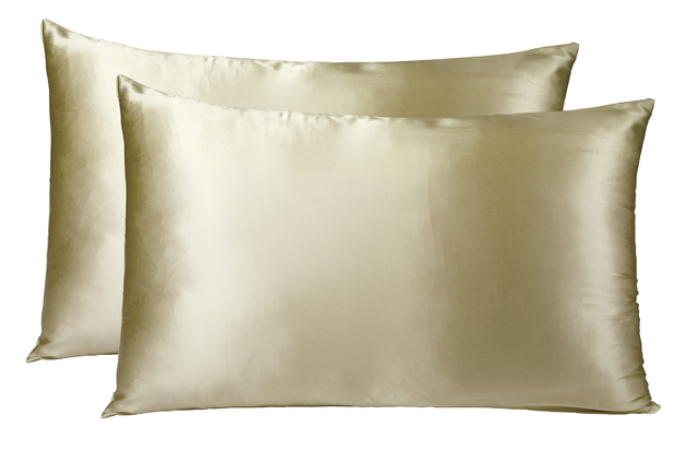 Royal Comfort Mulberry Silk Pillowcase Twin Pack - Champagne