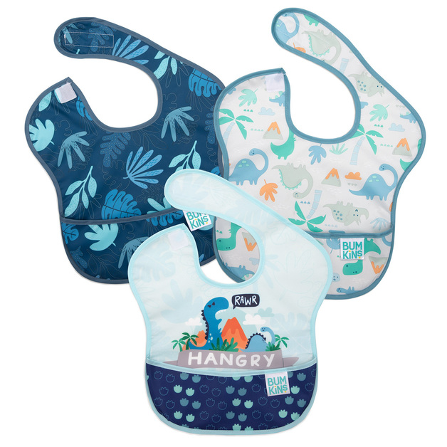 Bumkins: SuperBib - Blue Tropic/Dinosaurs (3 Pack)