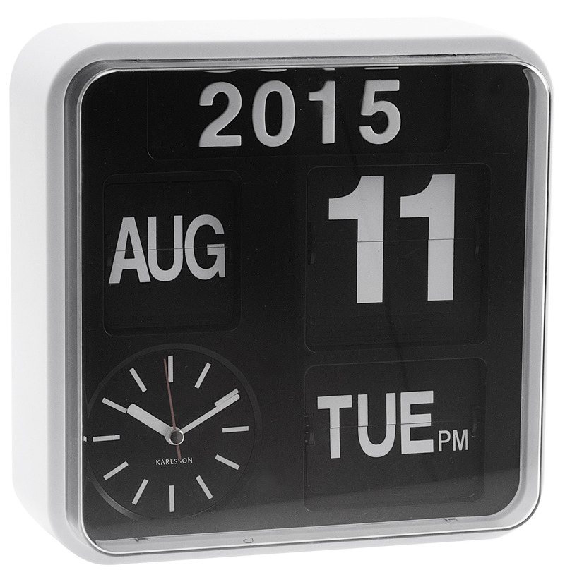 Karlsson Mini Flip Calendar Wall Clock - White image