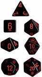 Chessex Opaque Polyhedral Dice Set - Black/Red