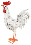 Large Standing Speckled White Rooster - Metal Art (54x36cm)