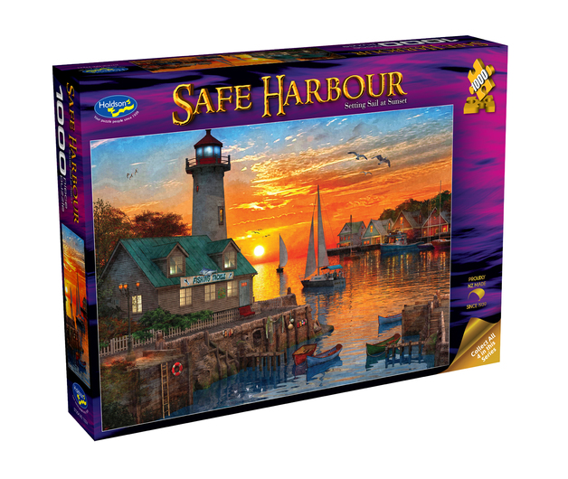Holdson: 1000 Piece Puzzle - Safe Harbour (Setting Sail at Sunset)