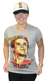 Dexter - Power-saw to the People Distressed Grey Female T-Shirt (Medium)