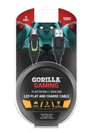 Gorilla Gaming LED Play and Charge Cable (PS4 & Xbox One) for PS4