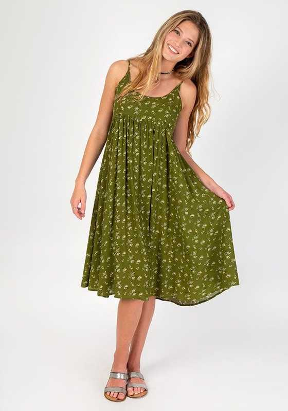 Natural Life: Gigi Dress - Olive Cream Calico (Medium)