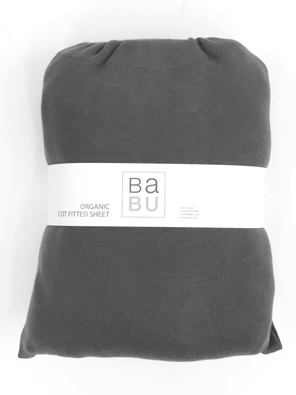 Babu: Organic Cotton Fitted Sheet - Standard Cot (Storm Grey)
