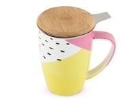 Pinky Up: Bailey Ceramic Tea Mug & Infuser - Color Block