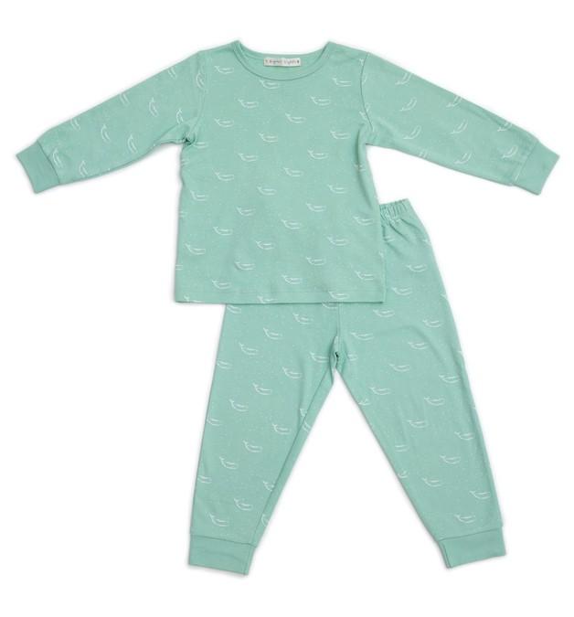 Organic Nights: Sage Green Childrens Long Sleeve/Long Pants Pyjama Set - 4-5 years