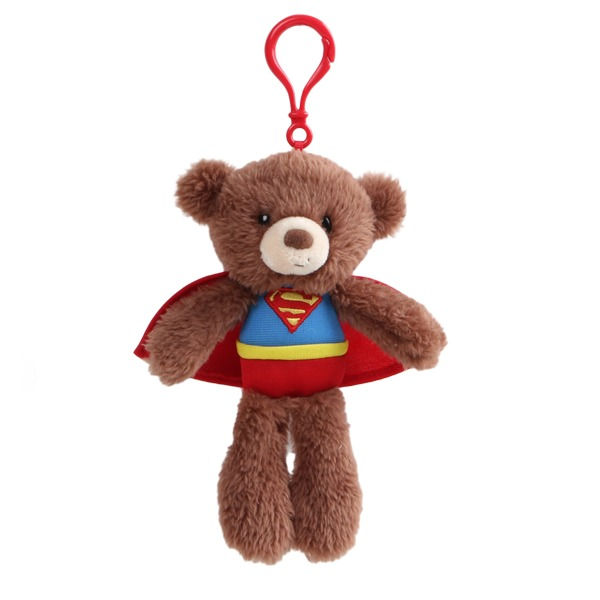 Gund Fuzzy Bear Backpack Clip Superman