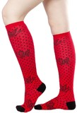 Sourpuss Sparrows & Dots Red/Blk Knee High Socks