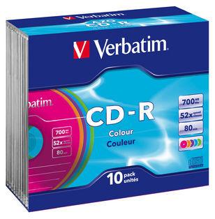 Verbatim CD-R 700MB 10Pk Slim Case Colours 52x image