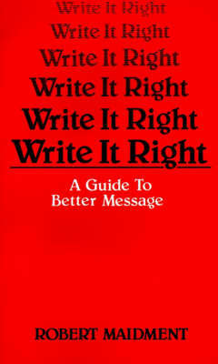 Write It Right by Robert Maidment image