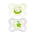 MAM Night Silicone Soother 0-4 Months - 2 Pack (Green)