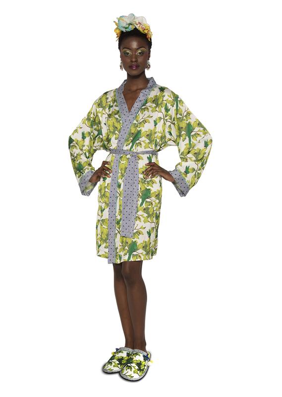 Frida Kahlo: Bonito Hoodless Satin Bathrobe - Green & White Ladies (One Size)
