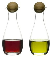 Sagaform Oval Oak Oil and Vinegar Bottles