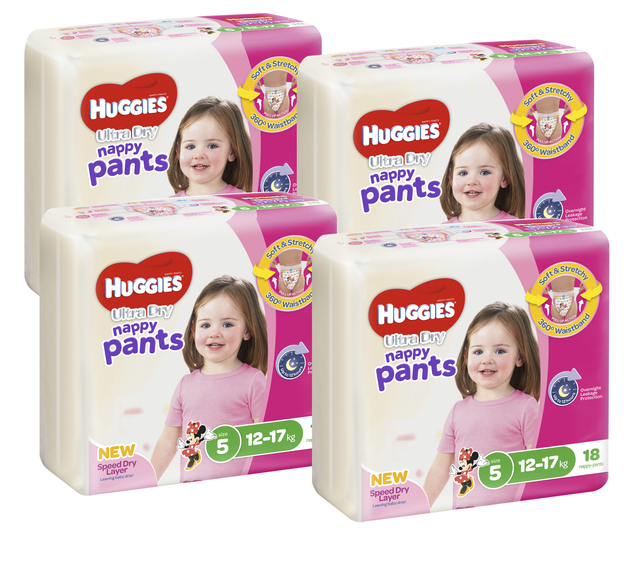 Huggies Ultra Dry Nappy Pants Convenience Value Box - Size 5 Girl 12-17 kg (72)