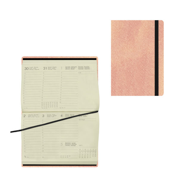 Legami: Small Weekly 12 Month 2021 Diary - Metallic Rose Gold (9.5 x 13.5cm)