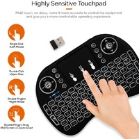 Mini Keyboard Touchpad Mouse with Lights Touchpad and Multimedia Keys for Android TV Box Smart TV Tablet Linux Windows OS image