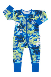 Bonds Zip Wondersuit Long Sleeve - Crocodragon Blue (12-18 Months)