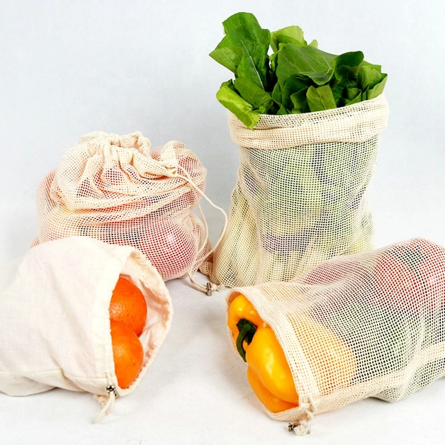 Organic Cotton Reusable Produce Bags 5-Pack (2 Small/3 Large)