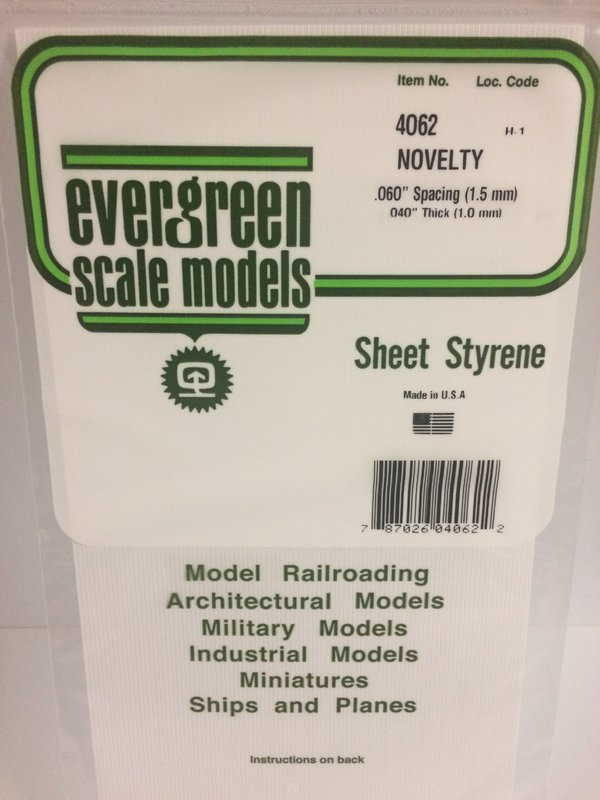 Evergreen Styrene Novelty Side .040Th .060Sp