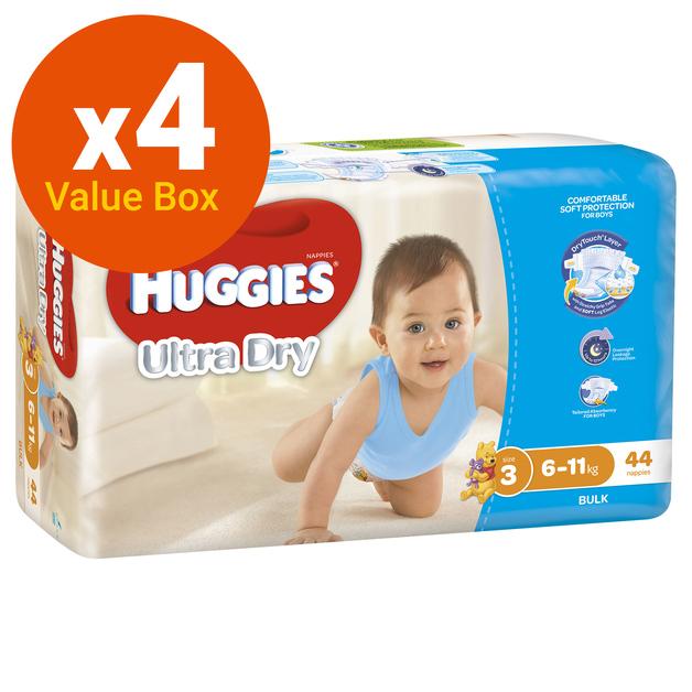 Huggies Ultra Dry Nappies Bulk Value Box - Size 3 Crawler Boy (176)