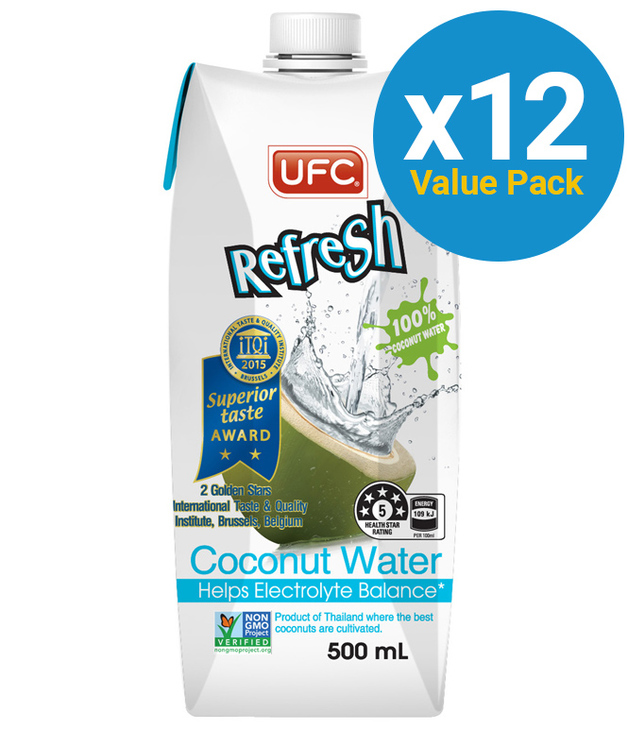 UFC Refresh 100% Natural Coconut Water 500ml (12 Pack)