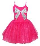 Pink Poppy: Sparkle Large Bow Dress (Size 5/6) - Hot Pink