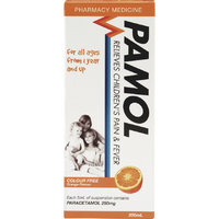 Pamol All Ages Orange Pain and Fever Relief Colour Free (200ml)