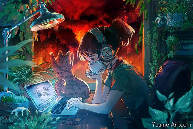 """Yuumei: Lofi Cali Girl - Art Print (18""""x12"""") #38"""