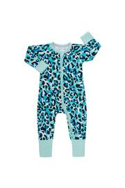 Bonds Zip Wondersuit Long Sleeve - Jungle Spot Aqua Frost (0-3 Months)