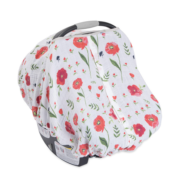 Little Unicorn: Muslin Car Seat Canopy - Summer Poppy