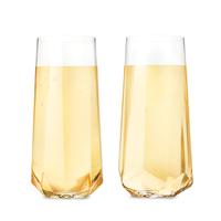 Viski: Raye - Faceted Crystal Champagne Glasses (Set of 2)
