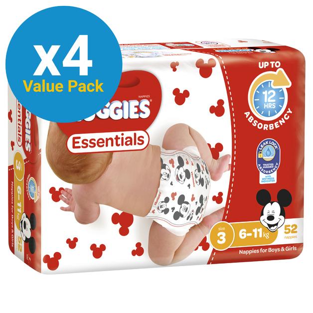 Huggies Essentials Nappies Bulk Value Box - Size 3 Crawler (208)