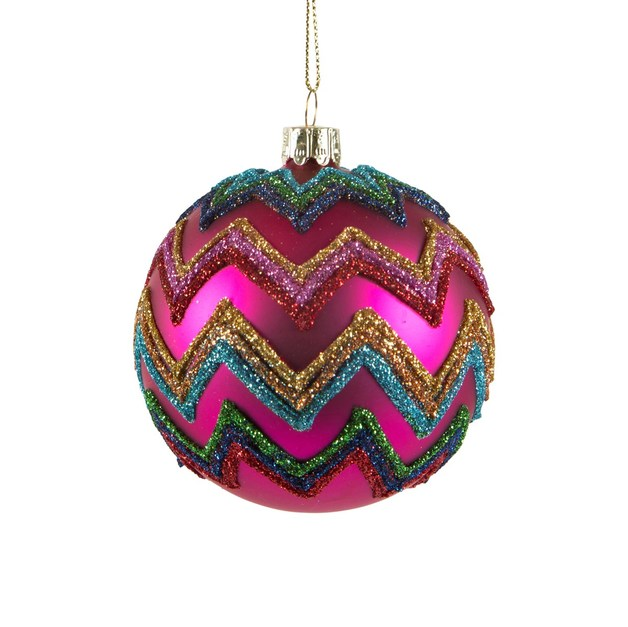 Christmas Glitter Chevron Bauble
