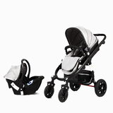 Four Wheeler Stroller with Bassinet and Capsule (Black)