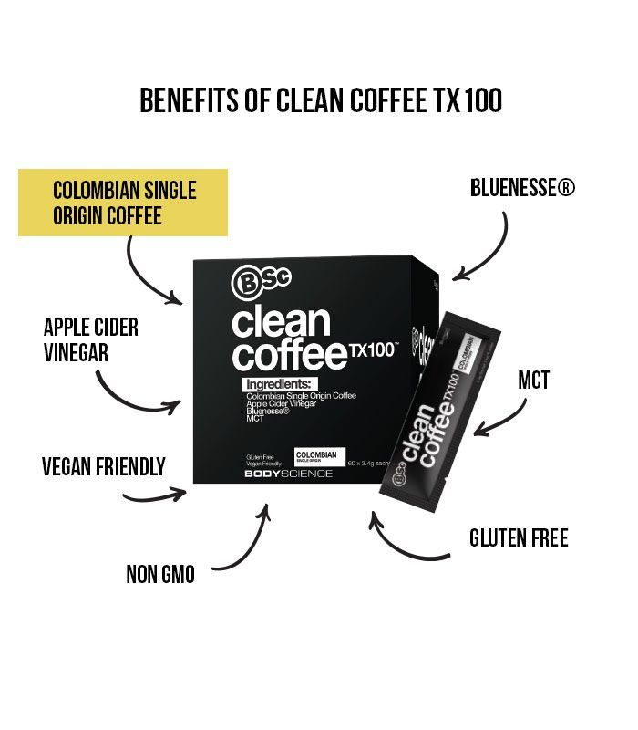 BSC Clean Coffee TX100 - MCT, Apple Cider Vinegar & Bluenesse (60x3.4g) image