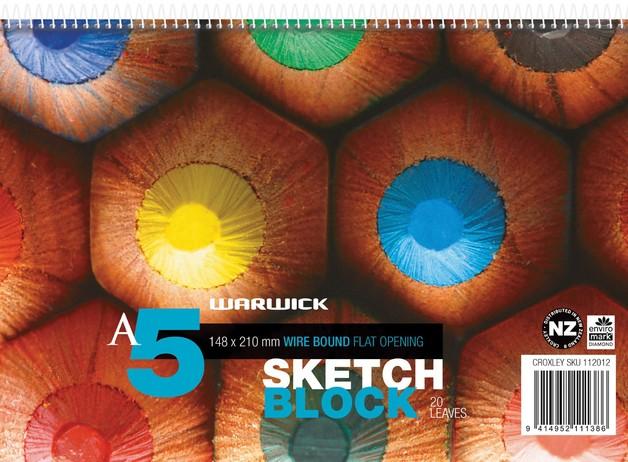 Warwick Pad A5 Spiral Sketch 20 Leaf 120GSM