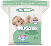 Huggies Baby Wipes Bulk Refill - Fragrance Free (160 Wipes)