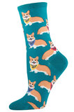 Womens Corgis Crew Socks - Emerald